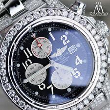 Diamond Breitling Super Avenger A13370 Black Face Side Diamond Bracelet & Bezel
