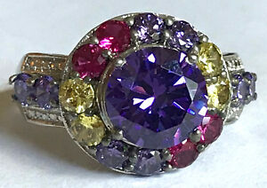 Vintage KARIS Ring sz10.25 w/ Multicolored CZ Ladies Large 925 Sterling Silver