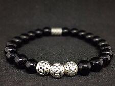 Onyx Armband Bracelet Perlenarmband Silber Beads Buddha schwarz
