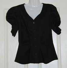 NWT Womens size 14 black button down gathered shirt made by TARGET