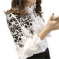 Women Long Sleeve Embroidery Blouse Shirt Korean Flower Tops Fresh Shirt Plus