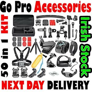 50in1 GoPro Set Kit Accessories For Head Chest Strap Go Pro Hero 2 3 + 4 5 6 7 8