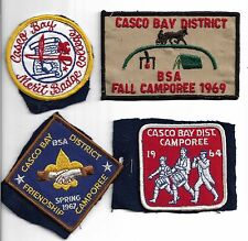 Boy Scouts of America Patches Casco Bay Maine Lot of 4 Embroidered Cloth 1960s