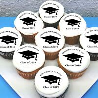 "Graduation Pre-cut 2"" Edible Icing Cupcake Toppers - Sheet of 15"