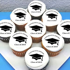 """Graduation Pre-cut 2"""" Edible Icing Cupcake Toppers - Sheet of 15"""