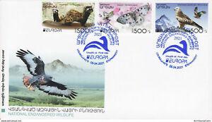 Artsakh Karabak Armenia 2021 FDC Mi 231-3 Europa Marbled polecat Butterfly Eagle