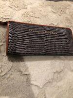 Dooney and Bourke Lizard Embossed Leather Continental Zip Clutch Wallet Grey