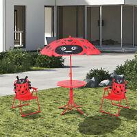 Garden Patio Chilidren Kid Cute Folding Table Set Chair Umbrella Parasol 4pc Red