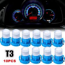 10* Car Auto T3 Wedge LED Lamps Instrument Dash Dashboard Gauge Base Light Blue