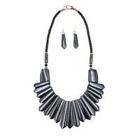 Vintage Tribal Necklace Runway Black Color Buffalo Bone Fashion Boho Jewelry Set