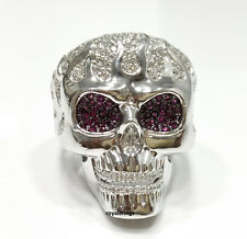 3.00 CT DIAMONDS GOTHIC SKULL RED EYES HUGE HEAVY BOY'S MEN'S RING 925 SILVER