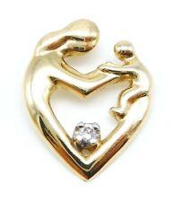 BEAUTIFUL Solid 14k Yellow Gold / Diamond Ladies Mother & Child Heart Pendant