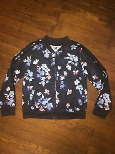 Adidas Girls Floral Zip Up Track Jacket Size M (10/12)
