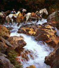 Howard Terpning WHITE WATER PASSAGE giclee canvas Native American
