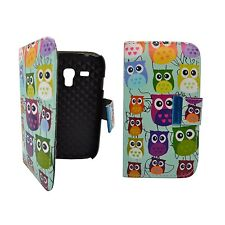 Case For Samsung Galaxy S3 Mini Wallet Flip Pu Leather Multi Colour Owl Cover
