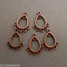 Antique Copper Small Teardrop Connectors 30 Pieces Alloy Metal 15.8mm  #0476