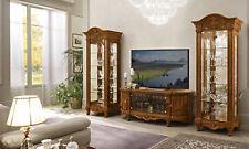 Wohnzimmer Komplett Set 2xVitrine Lowboard Nussbaum Hochglanz Barockstil  Italien