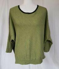 Eileen Fisher Green Colorblock Merino Wool Sweater Dolman Plus Size 2X