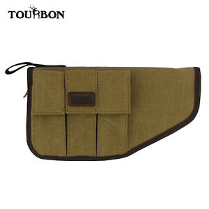 Tourbon Canvas Leather Pistol Case Soft Padded w/ Handgun Magazine Pouch Holder
