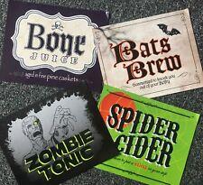 4 Halloween Bottle Labels Decoration Prop Punch 2ltr Bottles Blood Spider Cider