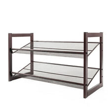 2 Tier Metal Free Standing Shoe Organizer Rack Stack-able for Living Room