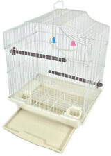 Bird Cage Kit White Starter Set Perches Swing Feeders With Scalloped Top
