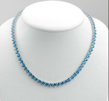 1-Row Blue Created Topaz  Excellent Tennis Necklace 14K White Gold Over Silver