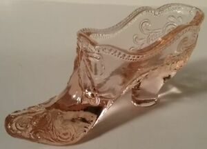 Pink Mosser Glass Shoe with Bow & Scrolls Heel Slipper Boot