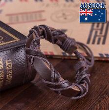 Whole Sale Adjustable Handmade Braid Leather Surfer Cuff Bracelet Wristband Punk