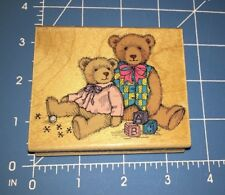 LARGE ANTIQUE BEARS Wood Mounted Rubber Stamp Hero Arts