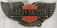 VINTAGE 1991 HARLEY-DAVIDSON motocicli WINGS SMALTO OTTONE fibbia della cintura. BARONE H