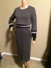 New! BABY MARY Unique Gray Dress Cable Knit Slv's Zip Bk Ponte Stretch M/L 8-10