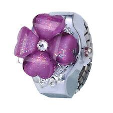 Creative Women Lady Steel Round Dial Elastic Finger Ring Quartz Watch Girl Gift