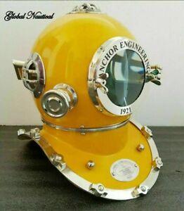 "Diving Divers Helmet Full Size 18"" Solid Steel & Brass Vintage Us Navy"