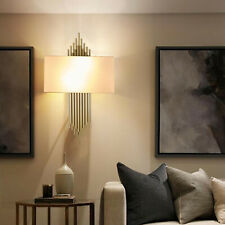 Modern Bedside Light Wall Sconce with Fabric Shade Lamp Wall Mount Bedroom Decor
