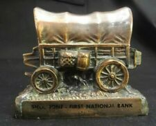 BANTHRICO SHOSHONE FIRST NATIONAL BANK BRONZE COIN STAGE COACH WAGON LOCKING OLD