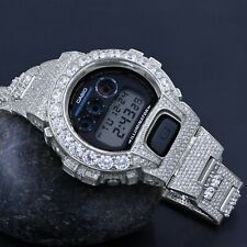 Authentic Custom Casio G-Shock DW6900 Solitaire Bezel Watch 18K White Gold Tone