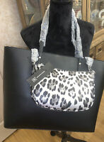 INC Zoiey 2 In1 Tote Shoulder Bag/ Purse Shopper Black/Silver-NWT-Retail $99.50
