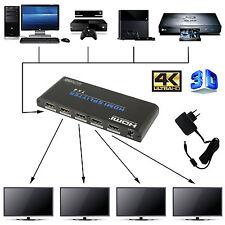 SPLITTER SDOPPIATORE FULL HD 1080P UHD 4K 3D 1x4 4 USCITE HDMI AMPLIFICATE