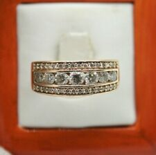 Hand Ring.8Mm Wide Band. Size 6.5 14K Yellow Gold Ladies Diamonds Right