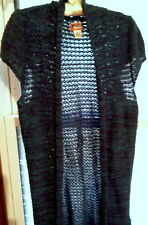 MUDD BLUE MIX LONG KNEE LENGTH SWEATER CARDIGAN WITH CAP SLEEVES LADIES SIZE XL