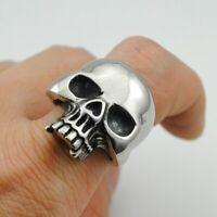 Edelstahl Totenkopf Ring Herren Damen Biker Skull Gothic Massiv Silber Schwarz