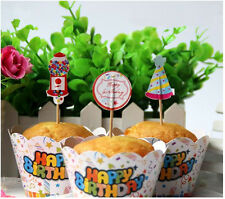 HAPPY BIRTHDAY design cupcake wrappers and toppers - Pack of 12  **AU SELLER!