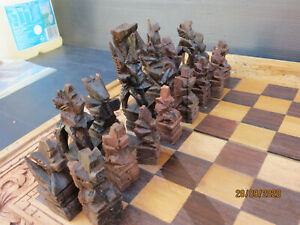 Vintage Balinese Handcarved Wood Chess Set & Backgammon Games..Complete In Case