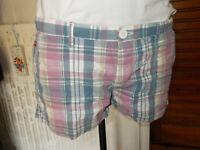 Short court coton écossais bleu rose taille basse SUPERDRY L W32 42FR 19ET21