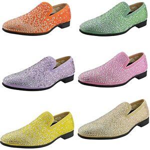 Bolano Rhinestone Encrusted Smoking Slippers Designer Slip On Loafer Dress Shoes