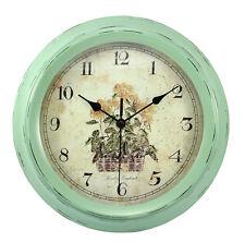 Vintage design Clock distressed metal duck egg green for indoor outdoor garden