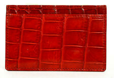 GUCCI Cherry Red Crocodile Skin Card Holder Wallet