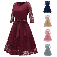 Formal Women Lace Layered Long Sleeve Dress Cocktail Party Bridesmaid Prom Gown