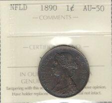 1890 Newfoundland Large Cent ICCS AU-50 Beautiful & SCARCE Victoria Nfld. Penny